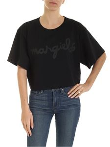 MM6 by Maison Martin Margiela - Boxy T-shit with tone-on-tone logo print in black