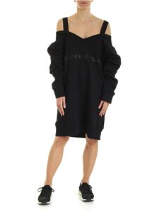 MM6 by Maison Martin Margiela - Sweatshirt dress with tone on tone logo in black