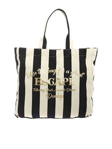 Dondup - Laminated print shopper bag in ecru and black