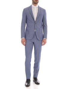 Canali - Checked suit in light blue