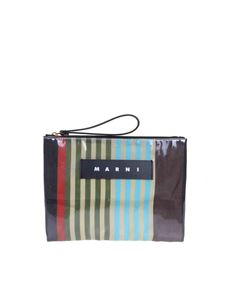 Marni - Multicolor striped pvc clutch