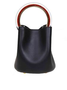 Marni - Pannier handbag in black leather with resin handle