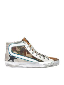 Golden Goose - Slide sneakers in white with camouflage detail