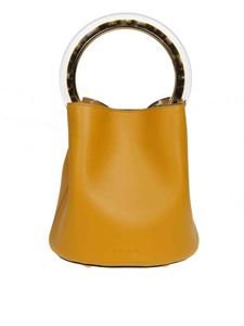 Marni - Pannier handbag in yellow leather with resin handle