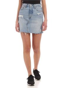 Levi's - Deconstructured mini skirt in light blue denim