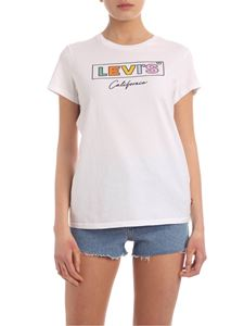 Levi's - Contrasting logo print T-shirt in white