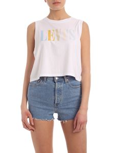 Levi's - Multicolor logo print crop top in white