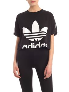 Adidas Originals - Cropped black T-shirt with lace details