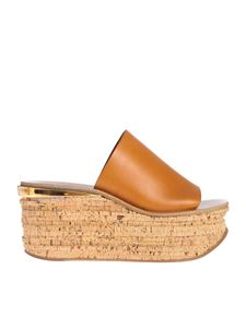 Chloé - Sandals in Cognac Brown with wedge
