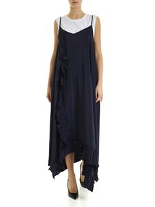 Parosh - Long dress in blue with pleated