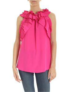 Parosh - Fuchsia top with pleated