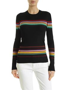 M Missoni - Knitted T-shirt in black with multicolor inlays