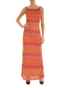 M Missoni - Long dress with fuchsia and orange zig zag print