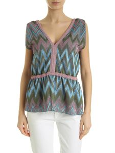 M Missoni - Top with pink light blue and green zig zag print