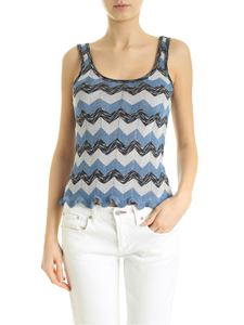 M Missoni - Top wit light blue and silver zig zag print