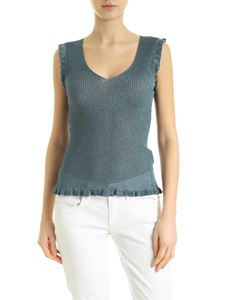 M Missoni - Knitted top in lamè teal blue color