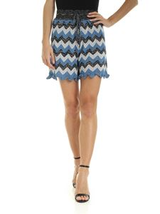 M Missoni - Shorts with blue and light blue zig zag print