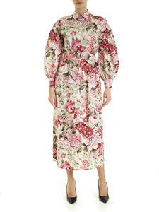 Parosh - Shirt dress in white with floral print