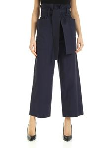 Parosh - Wide leg pants with side pockets in blue