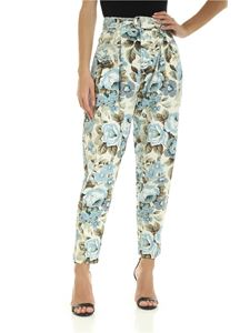 Parosh - Pants in ivory color with light blue floral print
