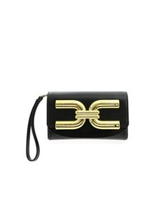 Elisabetta Franchi - Golden logo clutch bag in black