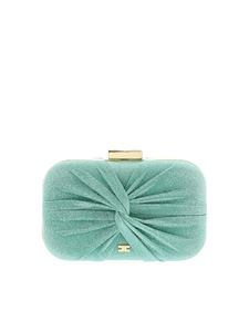 Elisabetta Franchi - Lamè details clutch in aquamarine color