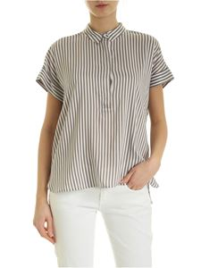 Peserico - Stripes blouse in brown and white