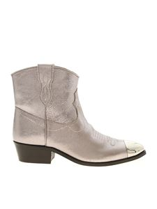 Twin-Set - Texan silver ankle boots with mirror toe