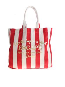 Dondup - Laminated print shopper bag in ecru and red
