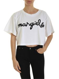 MM6 Maison Margiela - Black logo print boxy T-shirt in white