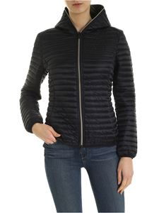 Save the duck - Logo patch quilted down jacket in black
