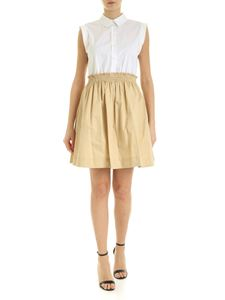 MY TWIN Twinset - Two-tone dress in white and beige