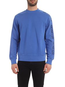 Moncler - Sweatshirt with logo embroidery in indigo blue