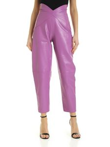 The Attico - Leather pants in lilac