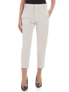 Dondup - Ariel dark blue striped pants in white