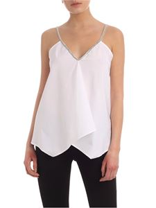 Dondup - Rhinestone detail boxy top in white