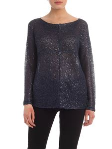 Parosh - Tone-on-tone sequins sweater in blue