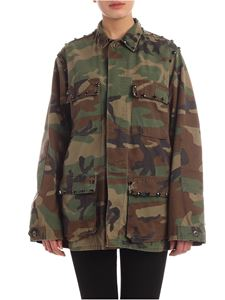 Parosh - Field camouflage jacket with black rhinestones