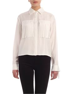 Parosh - Fringes crop shirt in white