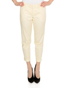 Fay - Turned-up pants in cream color