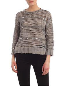 Lorena Antoniazzi - Sequins tricot effect sweater in grey