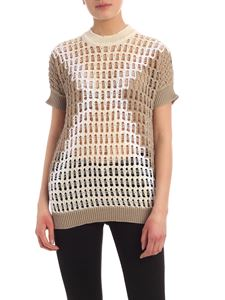 Lorena Antoniazzi - Tricot effect sweater beige white and cream color