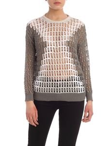 Lorena Antoniazzi - Tricot effect pullover in green grey and white