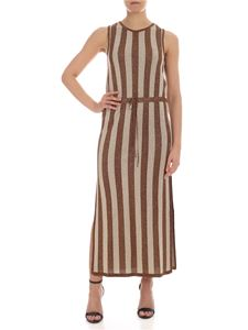 be Blumarine - Sleeveless dress in beige and lamé brown