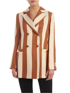 be Blumarine - Satin double-breasted jacket in ecru and brown