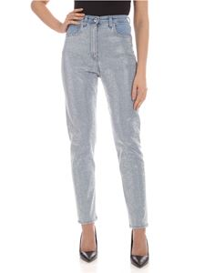 Blumarine - Silver micro studs jeans in light blue