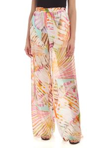 Blumarine - Multicolor print silk palazzo pants in ivory color