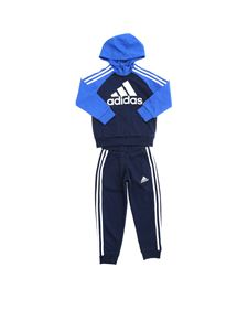 Adidas - Tuta French Terry blu e azzurra