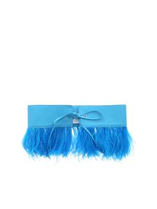The Attico - Turquoise leather belt with ostrich feathers