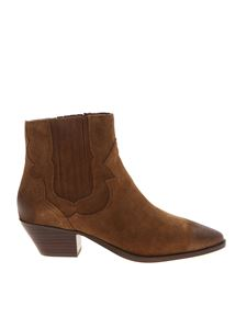 Ash - Falcon vintage-effect suede ankle boots in brown